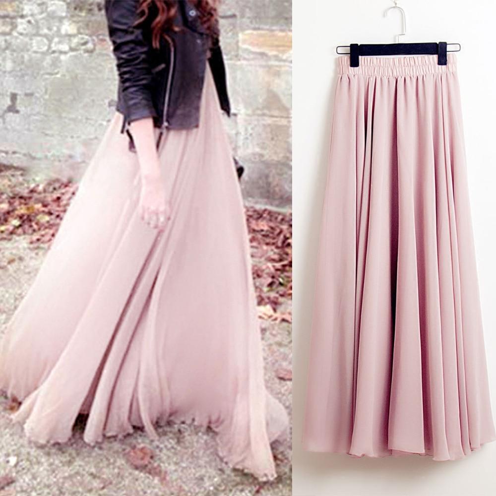 2019 bohême jupes longues femmes Stretch taille haute solide en mousseline de soie a-ligne jupe décontracté plissé Maxi jupe Faldas Saias Streetwear
