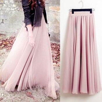 ddcb4cab6 Faldas largas Bohemia de verano para mujer estiramiento de alta cintura de  gasa sólida falda de línea a plisada Casual Maxi falda Faldas Saias ...