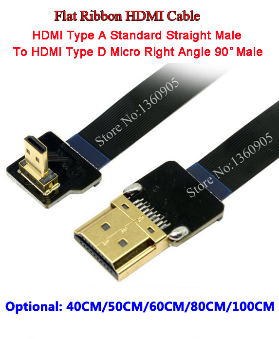 40CM/50CM/60CM/80CM/100CM Ultra Thin HDMI Cable Type D Micro Right Angle 90 Degree To HDMI Type A Straight Flat Ribbon Cable FPV