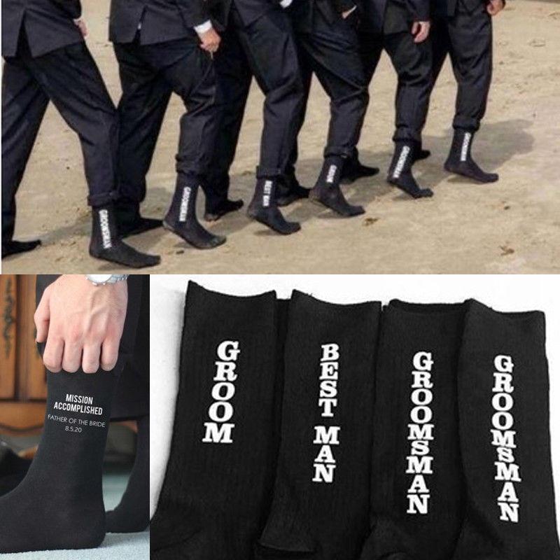 HIRIGIN Mans Socks For Wedding Party Groom Groomsman Best Man Print Long Sock Funny Suit