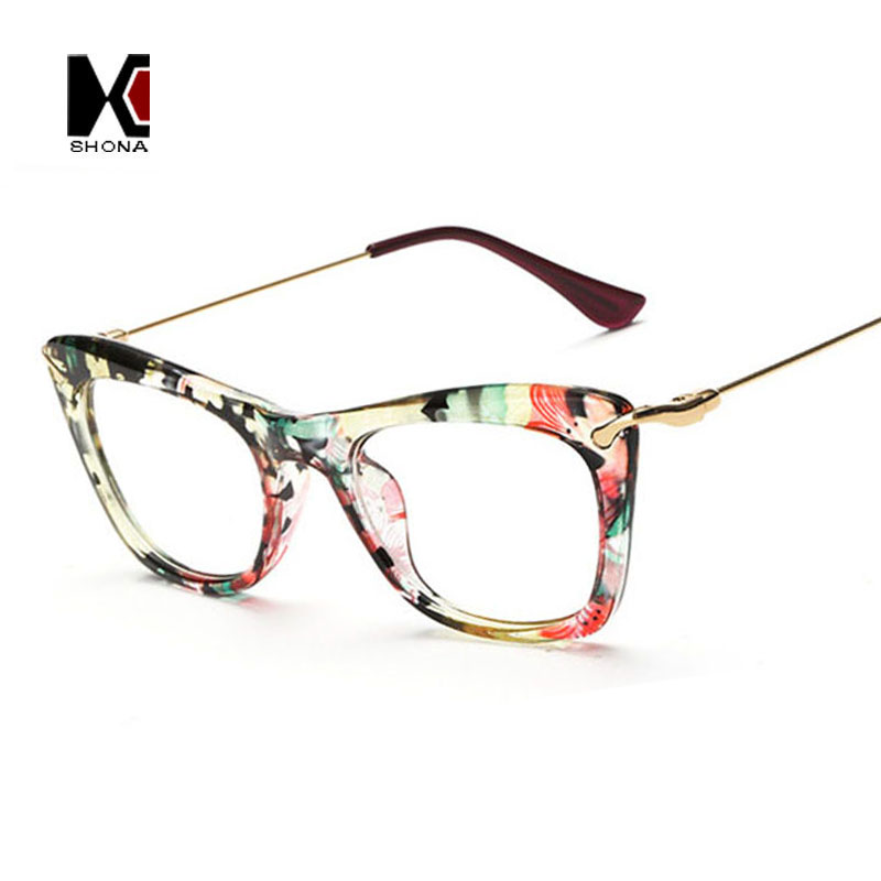 SHAUNA Fashion Women Cat Eye Glasses Frames Print Frame Cateye Eyewear Lady Eyeglasses Frames Metallic Legs 8Colors