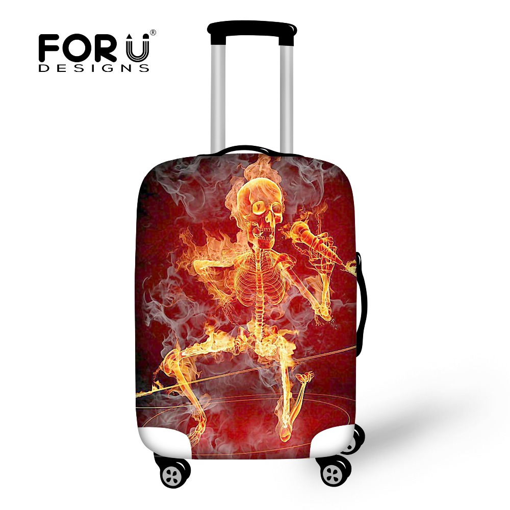 FORUDESIGNS Cool Skull Print Luggage Protective Dust Cover For 18-30 Inch Suitcase Travel Luggage Cover Men Travel Accessories