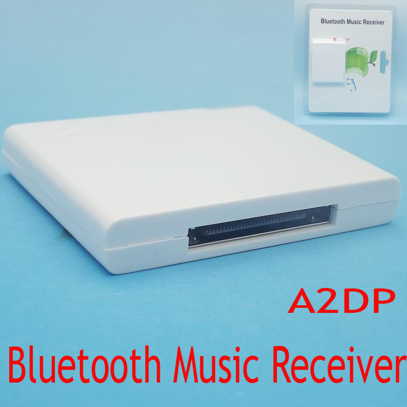 30pin Wireless transmitter Bluetooth Music Audio Receiver Adapter for Apple iPhone iPod Dock Speaker White free shipping