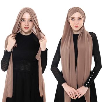 2019 women muslim chiffon instant hijab scarf femme musulman ready to wear plain hijabs under cap headscarf summer - discount item  25% OFF Muslim Fashion