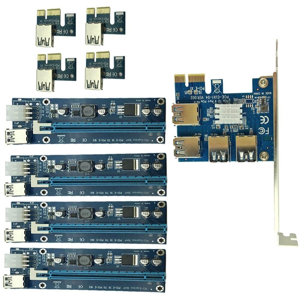 PCIe 1 à 4PCI Express 16X slots Riser Carte PCI-E 1X à Externe 4 PCI-e slot Adaptateur PCIe Port Multiplicateur carte EM88