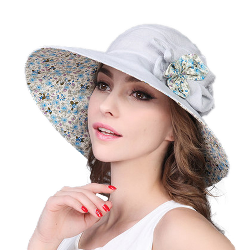 afdafcaca77 Aliexpress.com   Buy FS Large Brim Foldable Floral Summer Beach Sun Hat For Women  UV Protect Sunhat Casual Fashion Floppy Flower Visors Hats from Reliable ...