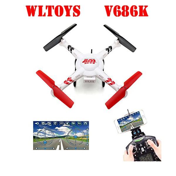 WLtoys V686K V686 4CH 360 Flips 2.4GHz RC Quadcopter Drone w HD Camera FPV APP Headless Mode RTF