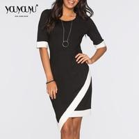 Kaige Nina New Dress Simple Pure Color Office Lady Style Wrist Sleeve No Decoration Knee Length