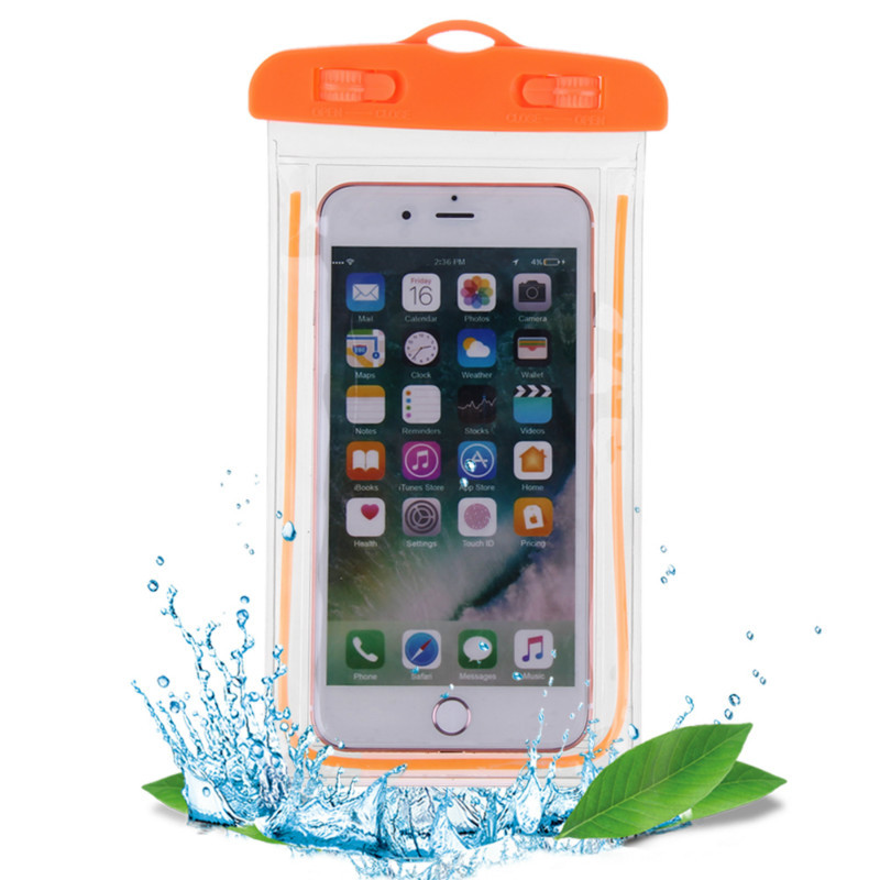 2017 Luminous obile phone Waterproof Bags deep Swimming Bags for iphone 5s cover for iphone X for xiaomi redmi 4X redmi 4A bags in Phone Pouches from Cellphones Telecommunications