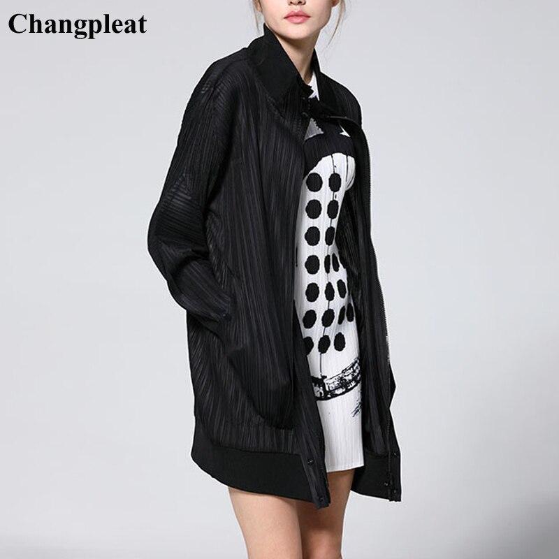 Changpleat 2019 Spring New Women   Basic     Jacket   Coats Miyak Pleated Fashion Design Loose Large Size Solid zipper Female Coat Tide