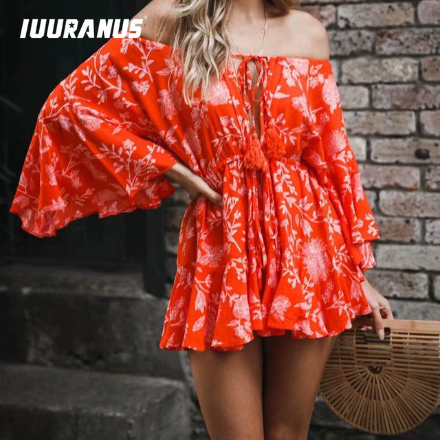 IUURANUS Ruffles Summer Vintage Women Casual Playsuits Print Off Shoulder 2019 Short Jumpsuit Rompers Bohemian Playsuit