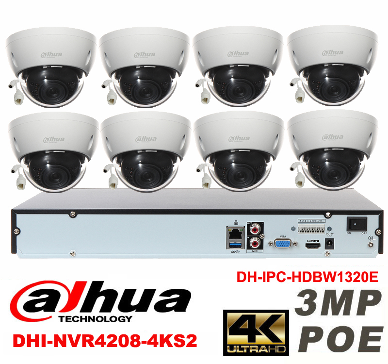 Dahua original 8CH 3MP H2.64 DH-IPC-HDBW1320E 8pcs Dome CCTV IP security camera POE DAHUA DHI-NVR4208-4KS2 network camera kit видеокамера ip dahua dh ipc hdbw2220rp zs 2 7 12мм 1 2 8 1984x1225