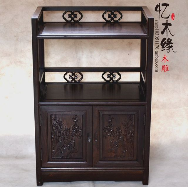 Ebony Wood Furniture Mahogany Sideboard Classical Chinese Style Tea  Restaurant Microwave Oven Cabinet Cabinet Small Lockers