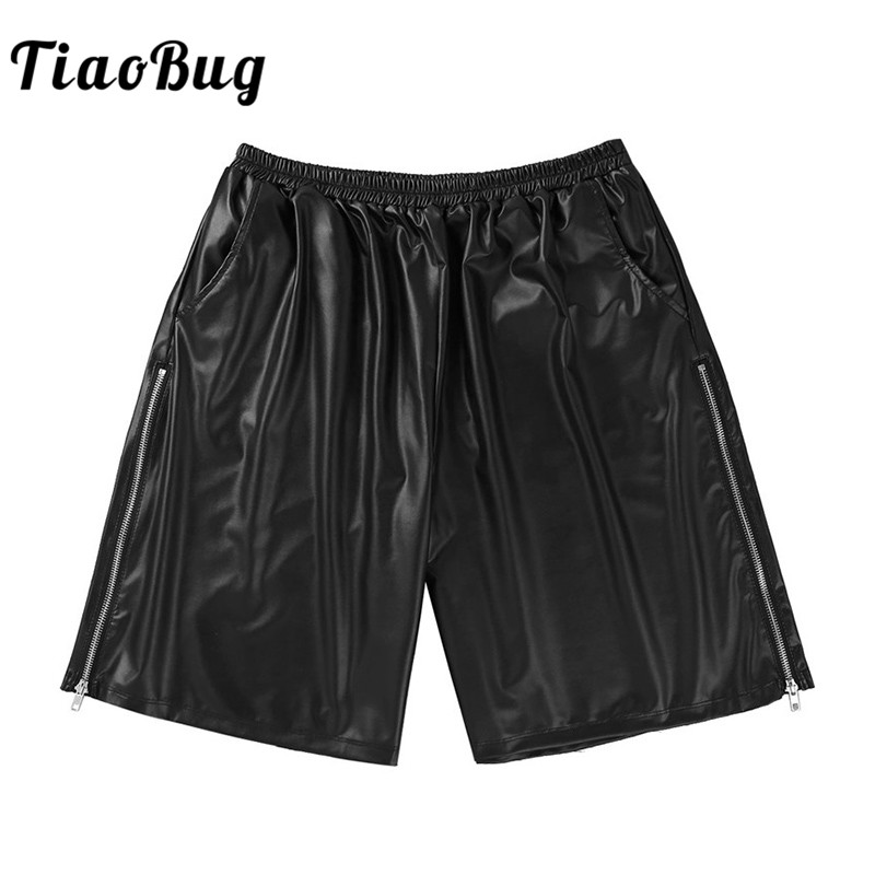 TiaoBug Men Fashion Soft Black Faux Leather Side Zipper Plus Size Male Loose Shorts with Pockets Club Costume Casual Short Pants