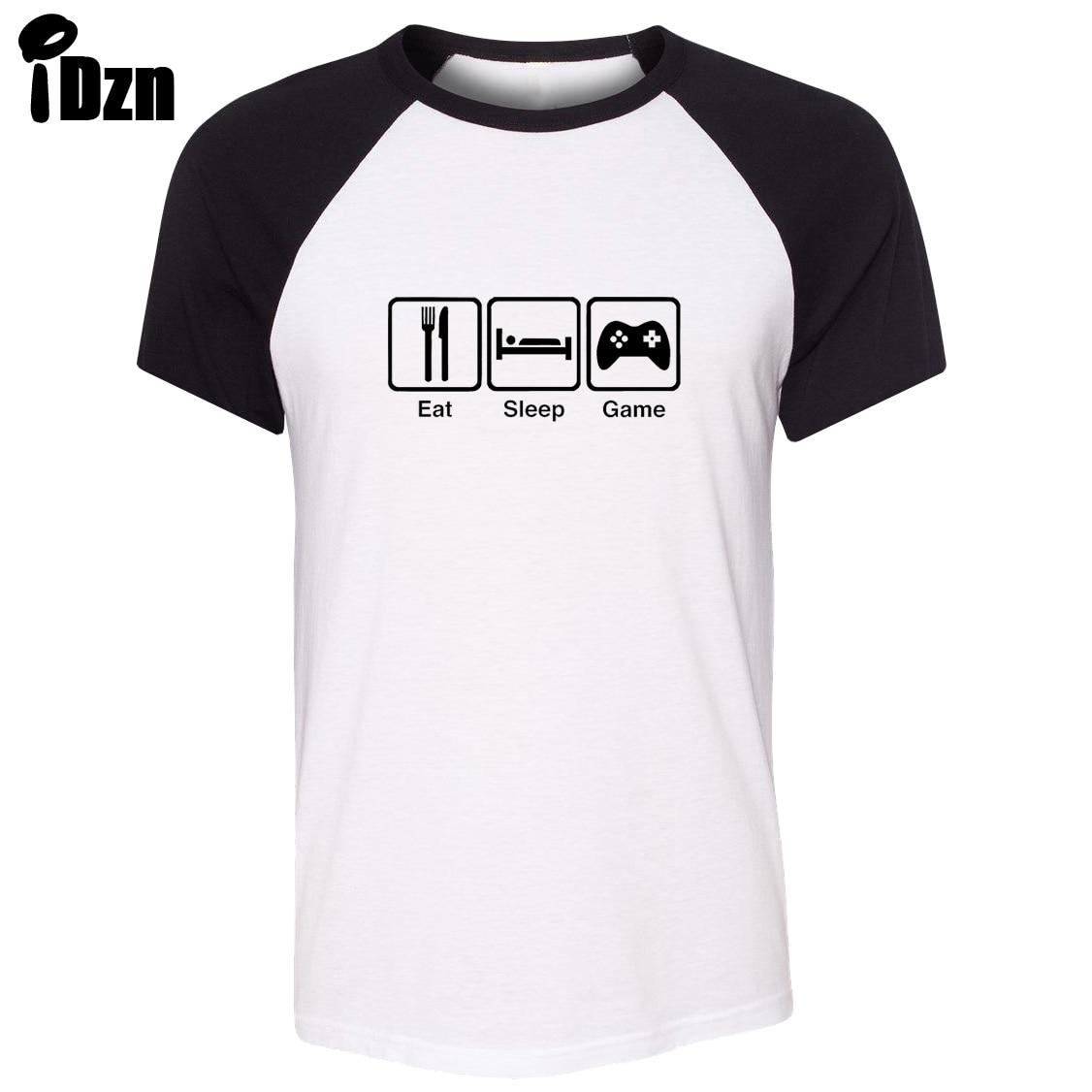 Shirt design black - Idzn Summer Men Raglan Short Sleeve T Shirt Funny Enjoy Life Eat Sleep Game Art