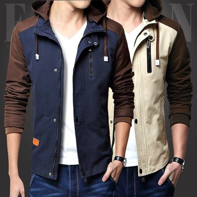 Bingchenxu Men Jacket Patchwork Slim Fit Hooded Jackets Cotton Men Casual Jacket Brand Male Clothing Manteau Homme Plus Size 490