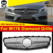 Fits For MercedesMB W176 Diamond grille grill Sport A45AMG look A-Class A180 A200 A250 A260 Front bumper ABS silver 16-18