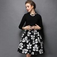 Стильные женские зимние платье из двух частей Высокая талия с цветочным принтом линия с длинным рукавом Миди платья черный, красный Размеры...