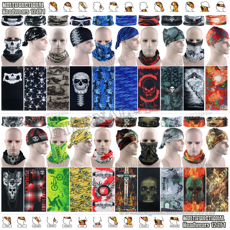 Latest Hypaethral Sports Scarves Sunscreen Bicycle Headband Skull Face Shield Bandanas Multi Purpose Outdoor Seamless Headgear protective outdoor war game military skull half face shield mask black