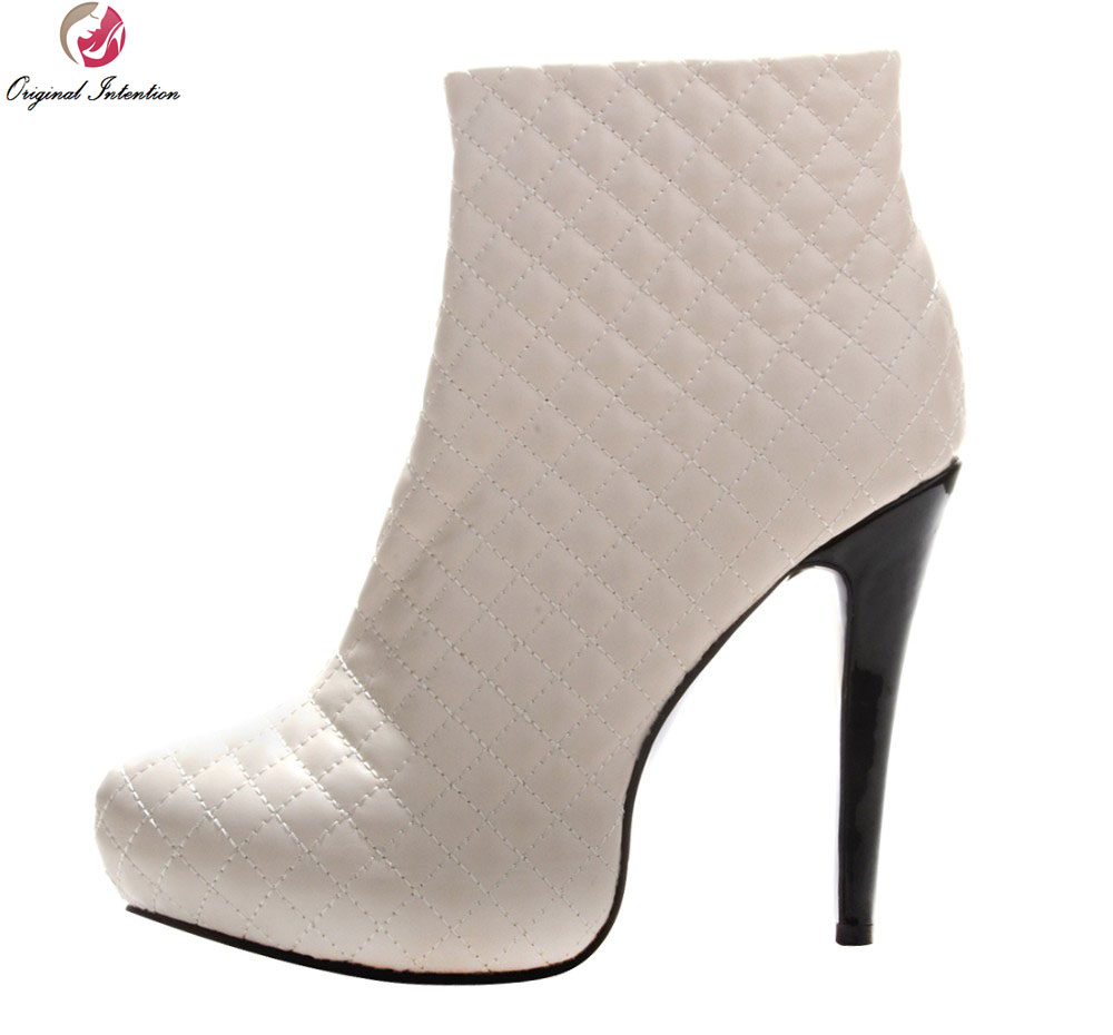 Original Intention Fashion Concise Women Ankle Boots Zip Round Toe Spike Heels Boots Elegant Shoes Woman Plus Size 4-15 original intention women new fashion ankle boots platform round toe spike heels boots nice grey shoes woman plus us size 4 15