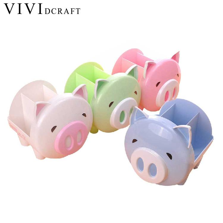 Vividcraft Children Desk Organizer Accessories Creative Kawaii Plastic Pig Holders Stationery Shop Storage Box Office Supplies cute cat pen holders multifunctional storage wooden cosmetic storage box memo box penholder gift office organizer school supplie