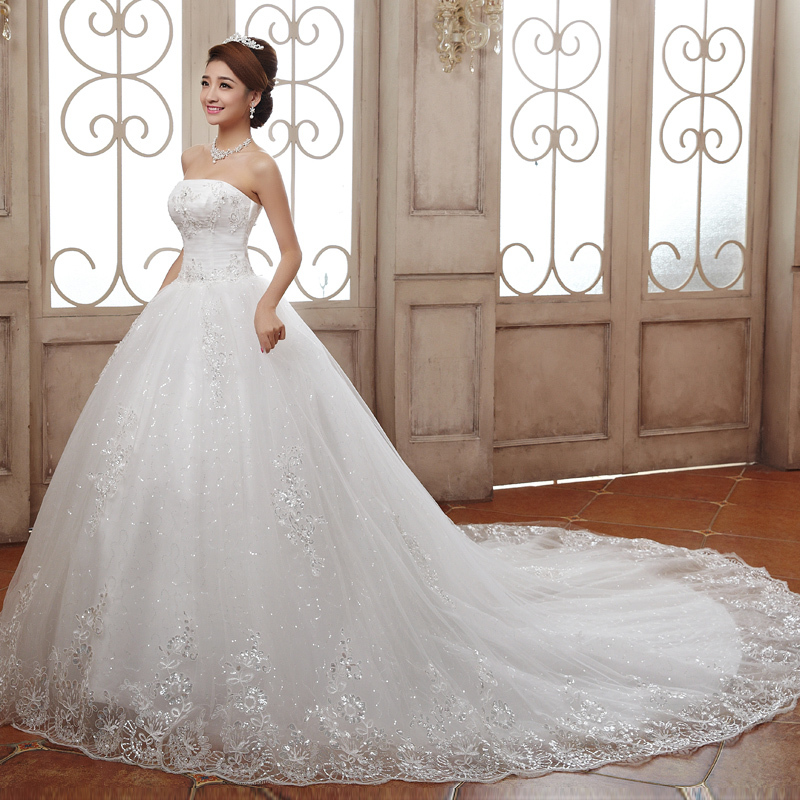 Bride Gowns 2015: Wedding Dresses 2015 Luxury Princess Lace Embroidery