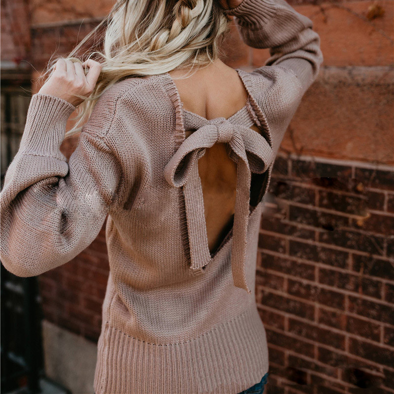 Women Sexy Backless Bow Sweater Autumn New Solid Back Hollow Out Lacing Sweater Female Casual Streetwear Fashion Hot Sweater