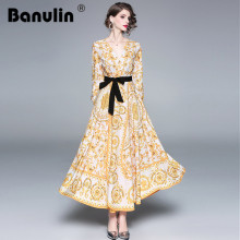 Banulin 2018 Designer Runway Dresses Women High Quality Fashion Baroque Print Vintage Dress Autumn Casual Maxi Robe Femme