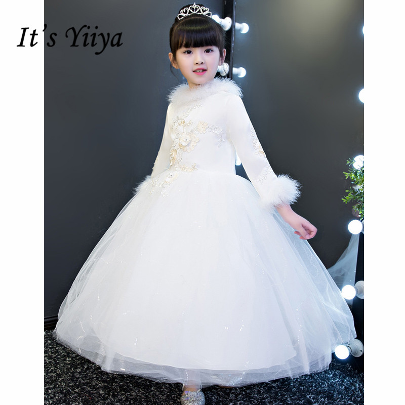 It's yiiya New Winter White Full Sleeves Ankle-length   Flower     Girl     Dresses   O-neck Feather Princess   Girls     Dress   MT006