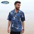 2016 nueva marca de verano hombres de Hawaiian Beach hombre ee.uu. tamaño manga corta de algodón sueltos ocasionales flojos Aloha camisas A853