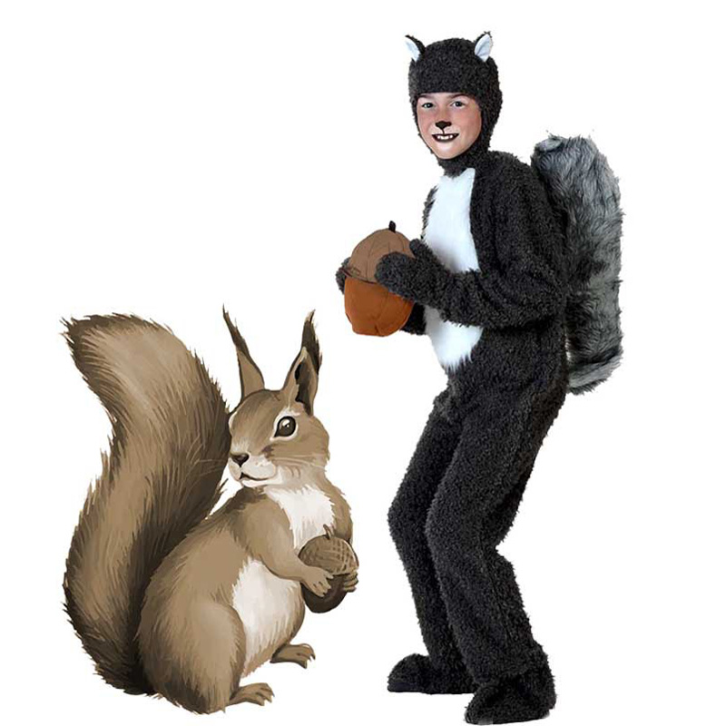 Adult Kids Animal Plush Squirrel Costume Clothes Stage Amphibian Costume Halloween Cosplay Child Animal Squirrel Jumpsuits
