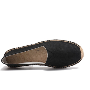Image 3 - OUDINIAO Hemp Wrap Mens Shoes Spring Espadrilles Men Canvas Shoes Men Breathable Mens Loafers Slip On Solid Black White