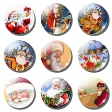 Santa 30 MM Fridge Magnet Christmas Xmax New Year Gift Glass Cabochon Magnetic Refrigerator Stickers Note Holder Home Decoration 11 pcs luminous cartoon glass fridge magnet set santa claus snowman elk 25mm refrigerator magnetic stickers christmas decoration