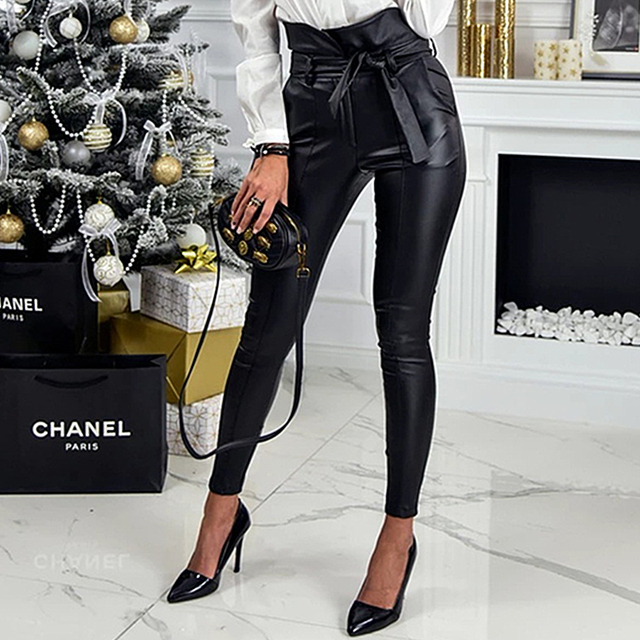 InstaHot Gold Black Belt High Waist Pencil Pant Women Faux Leather PU Sashes Long Trousers Casual Sexy Exclusive Design Fashion 2
