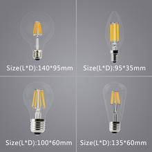 WEEVA LED Filament Bulb E27  E14 Vintage Edison Lamp Chandelier Lighting  Home Decor  DIMMABLE COB 220 Globe Retro Candle Light