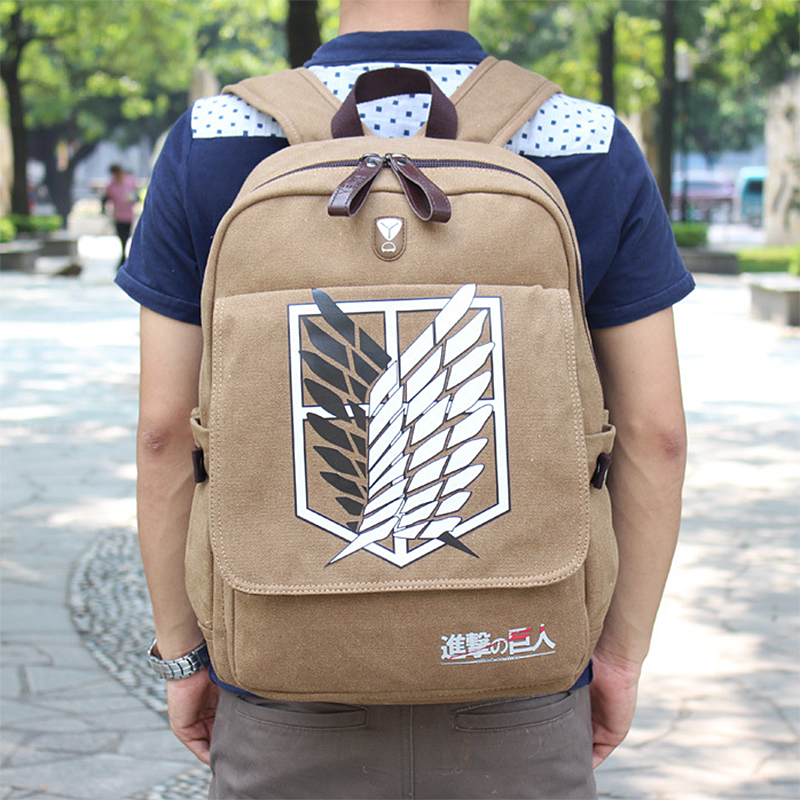 New Quality Attack On Titan Backpack School Bag Female Men's Scouting Legion Canvas Laptop Mochila Apb22
