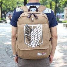 NEW Quality Attack on Titan Backpack School Bag Female Men's Scouting Legion Canvas Laptop Mochila APB22