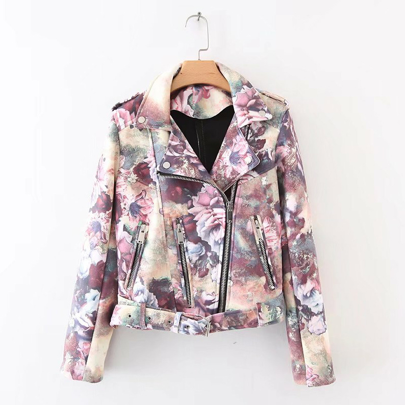 Spring Autumn Winter Women Fashion Flower Color Printing Zipper Pu Leather Jacket CKP-032 ...