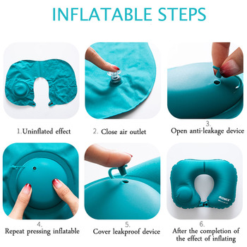 Inflatable Pillow 4 Piece Set Travel Cervical U-type Automatic Inflatable Folding Portable Accessories 5