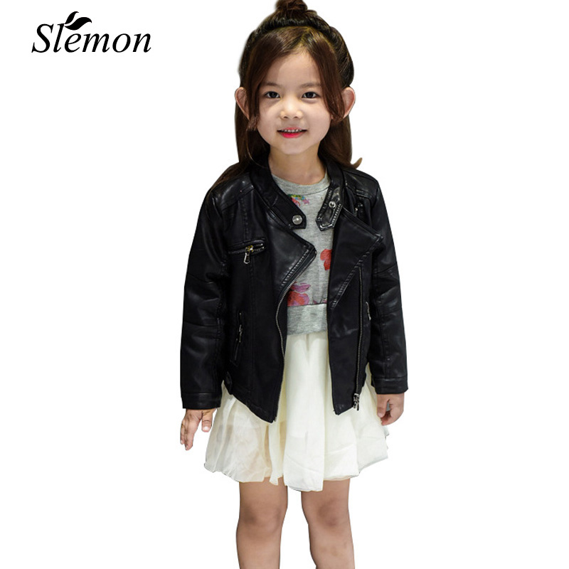 Children PU Leather Jacket Coat Clothes Autumn Winter Toddlers Kids 2018 Boys Girls Thin/Thick Black Zipper Velvet Biker Jackets zipper fly chamois biker jacket