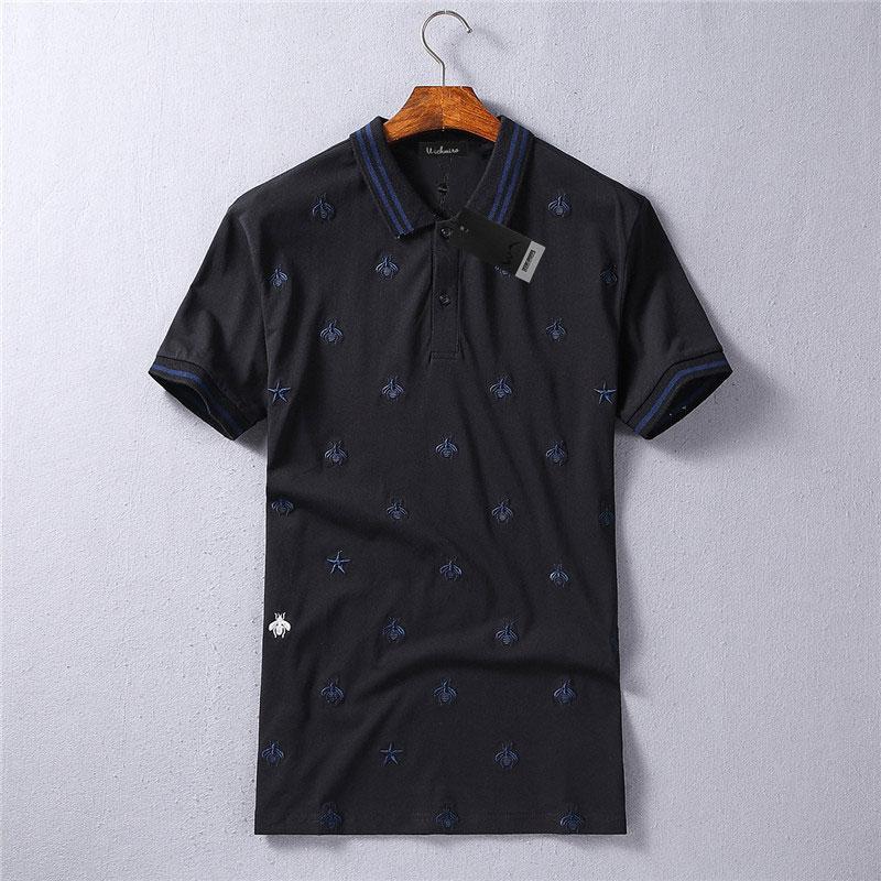 72161b8256 2018 nuevos Mens de la llegada abejas bordado Polo marca camisas ...