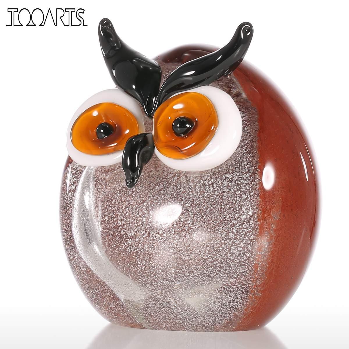 Tooarts Chubby Owl Figurine Glass Ornament Animal Statuettes Home Decoration Accessories Modern Handblown Home Decor Multicolor