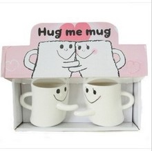 Expression of Hug Hug Lovers Cup Creative Ceramic Coffee Mug Lovers Mugs Valentine's Christmas Gift Couples Cup Free Shipping