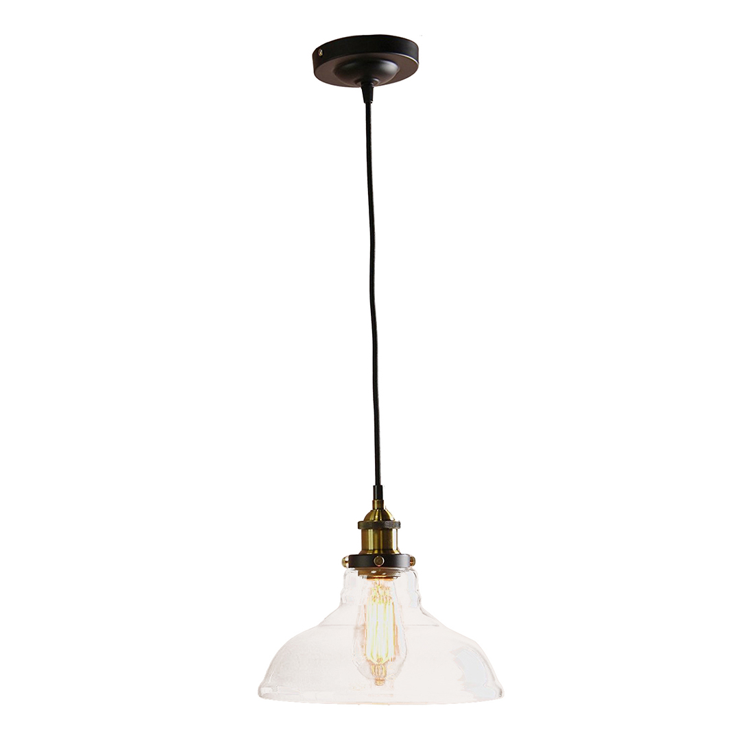 Modern Vintage Industrial 1 Light Iron Body Glass Shade Loft Bar Kitchen cover Chandeliers Hang Pendant Lamp Light Transparent vintage industrial metal finish glass shade loft pendant lamp retro light vintage light fit kitchen black gray