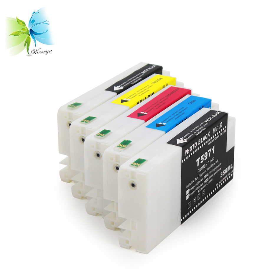 WINNERJET For <font><b>Epson</b></font> <font><b>7700</b></font> 9700 Printer 350ml Compatible Disposable <font><b>Ink</b></font> <font><b>Cartridge</b></font> T5961 T5962 T5963 T5964 T5968 image