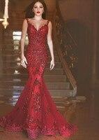 Robe De Soiree 2019 Cheap Burgundy Sheer Back Mermaid Prom Dresses Arabic Sequins Sweetheart Lace Applique Long Formal Evening