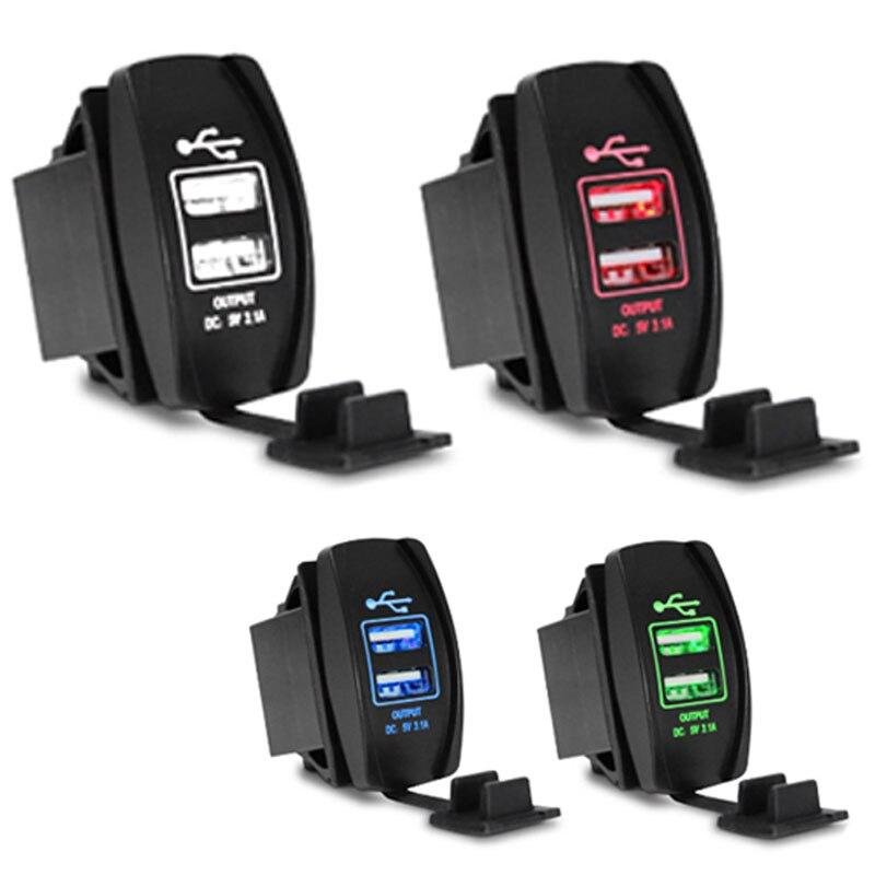 Car rear <font><b>charger</b></font> Waterproof car-<font><b>charger</b></font> USB Car Adapter 2 Socket 12-24V 5V 3.1A For <font><b>iPhone</b></font> <font><b>6S</b></font> Ipad Samsung,Tablet car styling