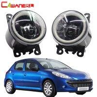 Cawanerl For Peugeot 206+ Car H11 LED Bulb Fog Light Assembly 4000LM Angel Eye DRL Daytime Running Light 12V 2009 2010 2011 2012