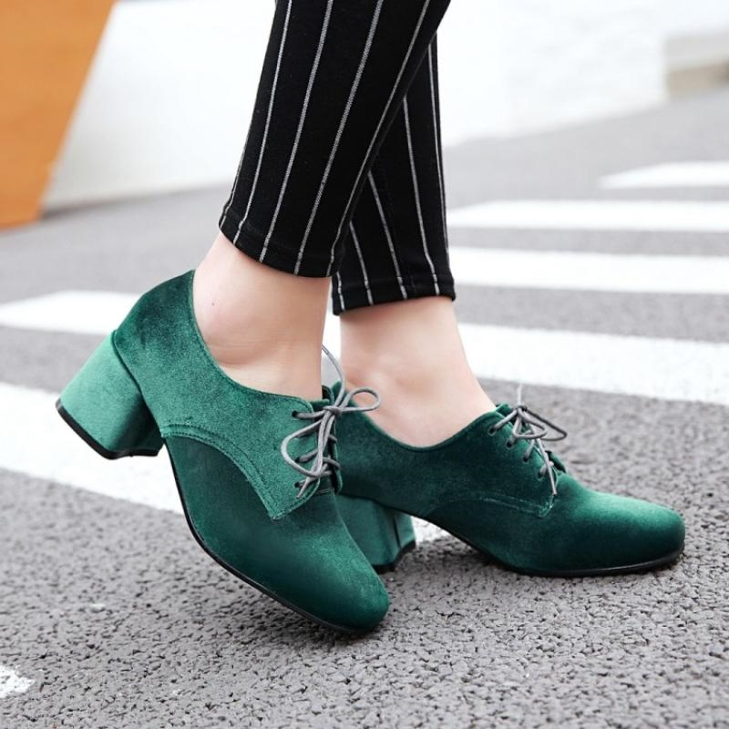 Shoes Pumps Lace-Up Velvet Brogue Round Toe High-Heel Womens 4colors New Wingtip A782