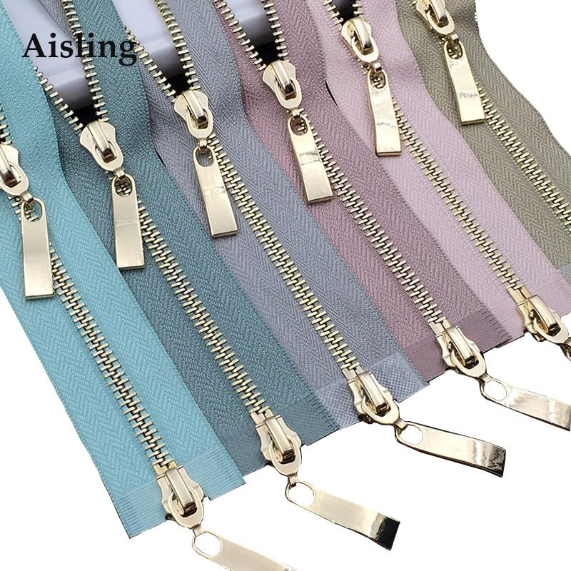 80/100/120CM Double Sliders Zipper Metal Light Gold Teeth Zip For Coat Down Jacket Zipper Clothing Accessories High Quality D680